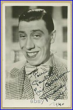 Fernandel (1903-1971) Rare et jolie photo dédicacée en 1940