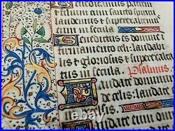 Feuillet manuscrit sur vélin, fin XVème. Décors peints, motifs végétaux, or fin