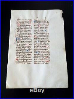 Feuillet manuscrit sur vélin, fin XVème. Lettrines décorées