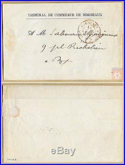France 1874 Bordeaux Cachet provisoire rouge Port Payé Signé POTHION