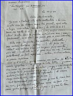 François AUGIÉRAS 3 LETTRES MANUSCRITES à une jeune femme avec 2 PHOTOGRAPHIES