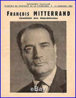 François MITTERRAND / Lettre Autographe Signée / Présidentielle 1965