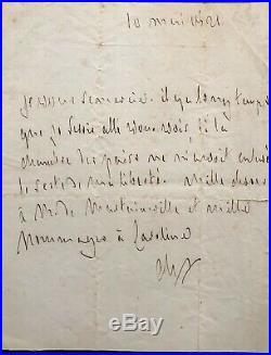 Francois Rene De Chateaubriand, Lettre Autographe Signee, 10 Mars 1821