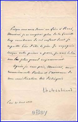 François René De Chateaubriand / Lettre Signée (1838) / René