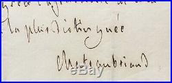 François-René de CHATEAUBRIAND Lettre autographe signée Ambassade Londres