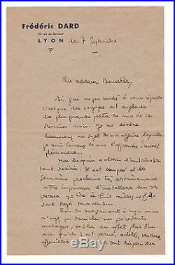 Frédéric Dard / Lettre Autographe / 1943 / San Antonio