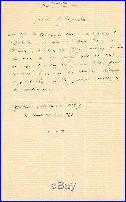 Frédéric MISTRAL, belle lettre et poème autographes / Inondations de Murcie