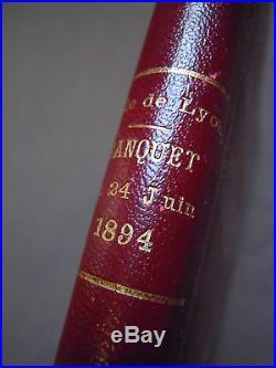GASTRONOMIE CUISINE GASTRONOMY 1894 Menu sur soie Banquet Président Carnot Lyon