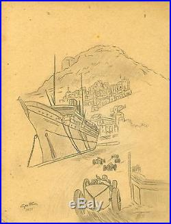 GRAND PRIX DE MONACO 1931 Crayon et fusain sur papier entoilé d'après Géo HAM