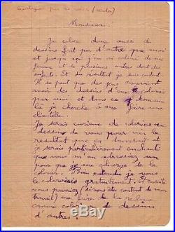 Gaston Chaissac / Lettre Autographe (1945) / Art Brut / Je Suis Un Bon Coloriste