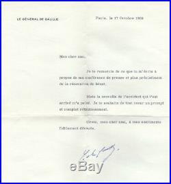 Général De Gaulle Président De La République Autographe 1968