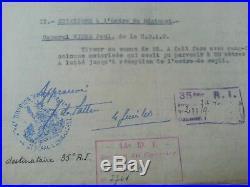 Général De LATTRE de TASSIGNY autographe du 4 juin 1940. Rare citation 14e D. I