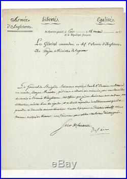 Général Desaix / Lettre Signée (1798) Au Sujet Du Général Bellavène / Scherer
