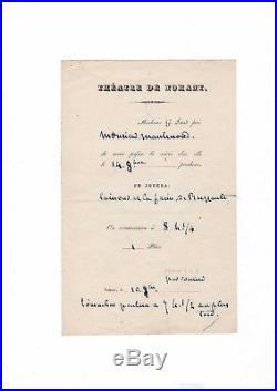 George Sand / Invitation Autographe Au Thétre De Nohant (1860) / Ruzzante