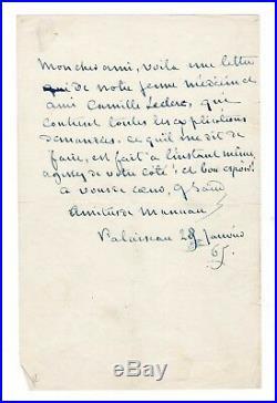 George Sand / Lettre Autographe Signée (1865) / Camille Leclerc / Palaiseau