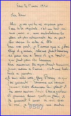 Georges Brassens / Lettre Autographe (1940) / Rare Lettre De Jeunesse