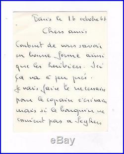 Georges Brassens / Lettre Autographe (1967) / Jeanne Planche / Pierre Seghers