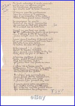 Georges Brassens / Manuscrit Autographe / Les Voisins Sont Tous Des Sal'types