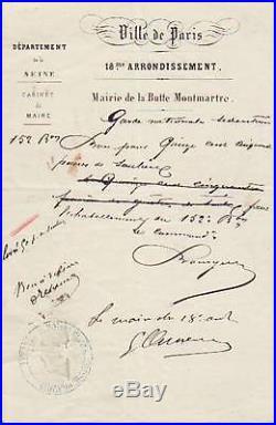 Georges CLEMENCEAU autographe / Siège de Paris