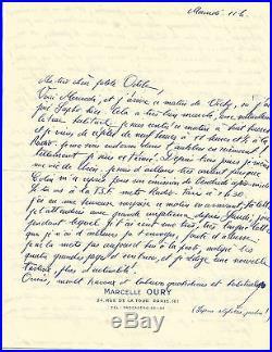 Gerard Oury (1919-2006) Realisateur Francais. Exceptionnelle Lettre A. S. G296
