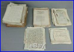Gros lot documents anciens vieux papiers XIXe notaire factures lettres empire