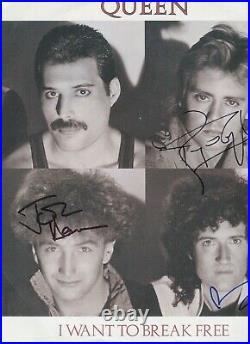Group QUEEN 3 Autograph Signed ORIGINAL sur Pochette LP MAXI 45T 1984