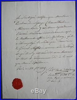 Guerre de Vendée. Dubroc de segange. Chouan de Vendée. Dossier Signé LOUIS. 1815