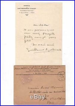 Guillaume Apollinaire / Lettre Autographe (1916) / Le Poète Assassiné / Hôpital