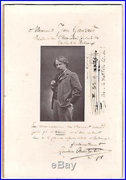 Gustave Charpentier / Photo Avec Dédicace Et Portée Autographes (1901)