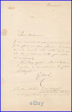 Gustave Doré peintre lettre autographe signée visite adresse atelier