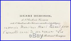 Henri BERGSON autographe