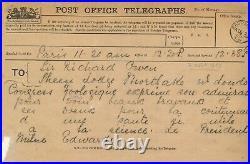 Henri MILNE EDWARDS télégramme à Sir Richard OWEN paléontologue
