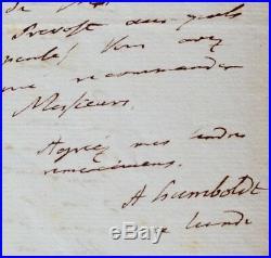 Humboldt fait suivre le courrier de Mmes Arago et Gay