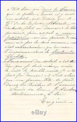 Impératrice Eugénie Lettre Autographe À Napoleon III (1870) / Exil / Gambetta