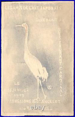 Invitation Pierre Roche. Diner Les Amis de l'Art Japonais. 1909. Gypsotypie