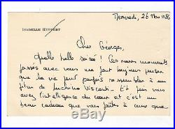 Isabelle Huppert / Lettre Autographe (1982) / À Georges Baume