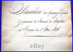 Italie NAPLES 1806 situation des dépots d'infanterie de l'armée de NAPLES