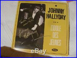JOHNNY HALLYDAY Autographe Dédicace JOHNNY HALLYDAY 33 T. Signé Main HAND SIGNED