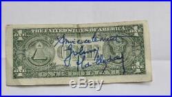 JOHNNY HALLYDAY Autographe Dollar Signé Las Vegas HALLYDAY Dedicace Hand Signed