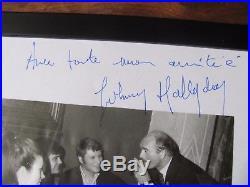 JOHNNY HALLYDAY Dédicace Autographe JOHNNY HALLYDAY avec EDDY BARCLAY bon état