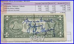 JOHNNY HALLYDAY Dedicace sur Dollar HALLYDAY AUTOGRAPHE + Facture d'époque