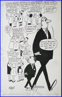 Jacques FAIZANT dessin original / De GAULLE