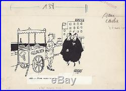Jacques FAIZANT dessin original / Les Vieilles Dames