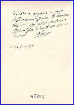 Jacques Necker / Lettre Autographe Signée (1778 / Louis Xvi)