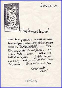 Jacques Tardi / Lettre Autographe + Dessin (1982)