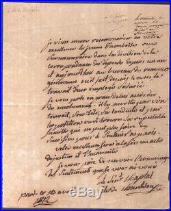 Jean-Antoine Chaptal. Chimiste. Lettre autographe signée. 1812