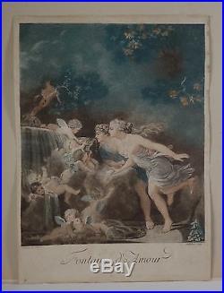 Jean-Baptiste AUDEBERT 1732-1806 LA FONTAINE D'AMOUR d'après FRAGONARD XVIIIe