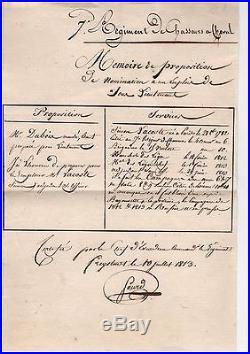 Jean Baptiste Sourd / Document Autographe (1813) / Napoleon / Waterloo