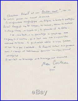 Jean COCTEAU Rare manuscrit autographe signé sur Christian BÉRARD