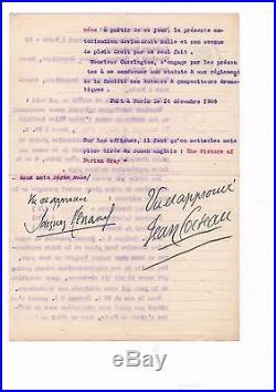 Jean Cocteau / Contrat Signé (1908) / Oscar Wilde / Dorian Gray
